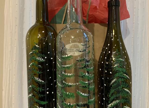 Hand painted Winter Wine bottles