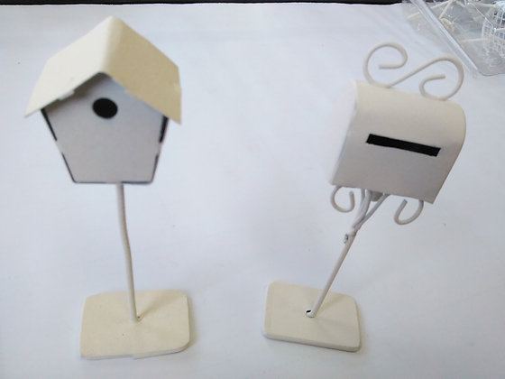 WHITE MAILBOX AND BIRDHOUSE