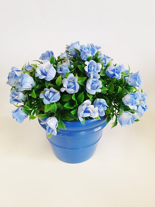 BLUE FLOWERS W/ BLUE TERRA COTTA PAINTED POT