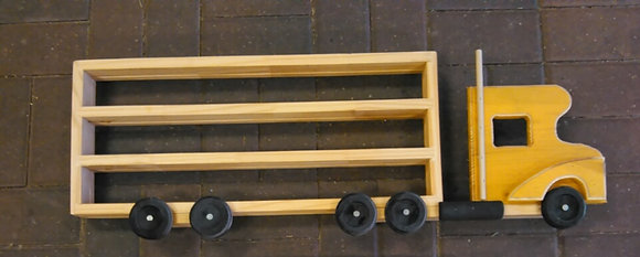 WOODEN SEMI TRUCK SHELF - DARK YELLOW  (HANDMADE)