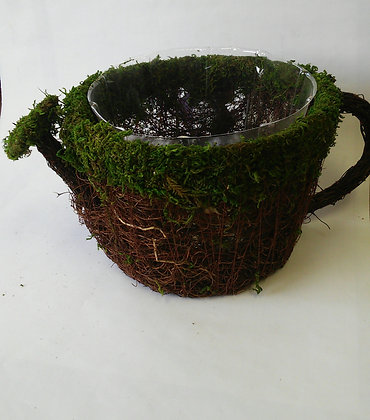 FAUX DECO MOSS WATERING CAN