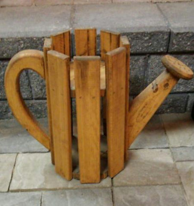 WOODEN WATERING CAN PLANT STAND SMALL (HOMEMADE)