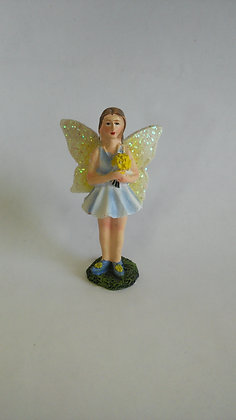 FAIRY IN BLUE DRESS HOLDING A BOUQUET