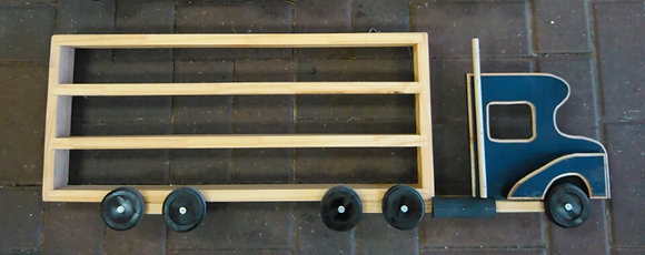 WOODEN SEMI TRUCK SHELF - ROYAL BLUE (HANDMADE)