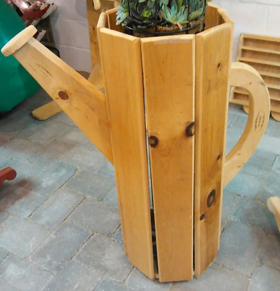 WOODEN WATERING CAN PLANT STAND LARGE (HANDMADE)