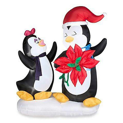 PENGUINS WITH POINSETTA - ANIMATED