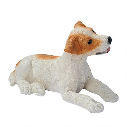 JACK RUSSELL PUPPY STATUE (BROWN AND WHITE)