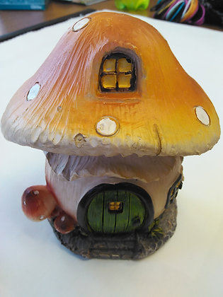 Mushroom House (green door) MIniature Fairy Garden