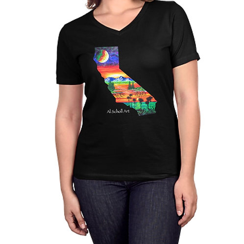 """Cali Love"" Womens V-Neck Shirt"