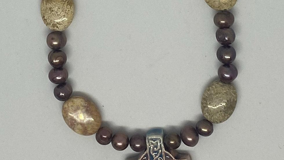 Pink Celtic Cross Necklace