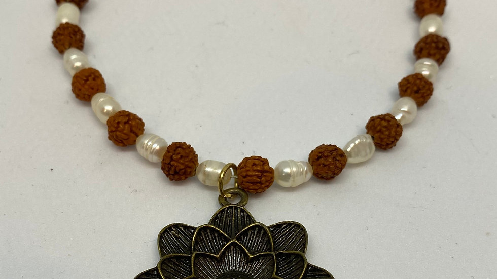 Rudraksha & Pearl Necklace