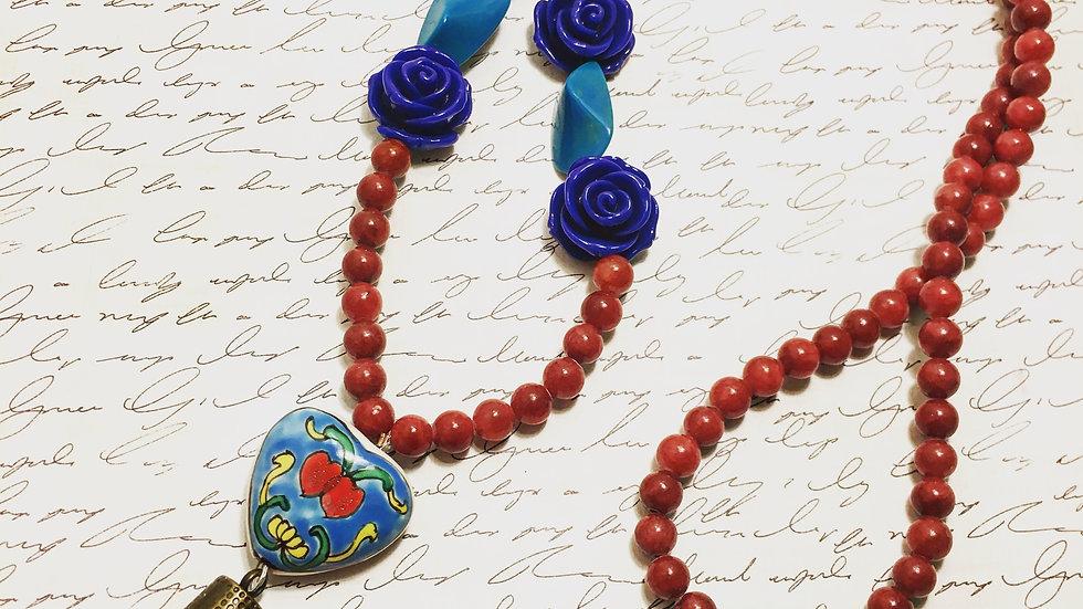 Red & Blue Rose Mala