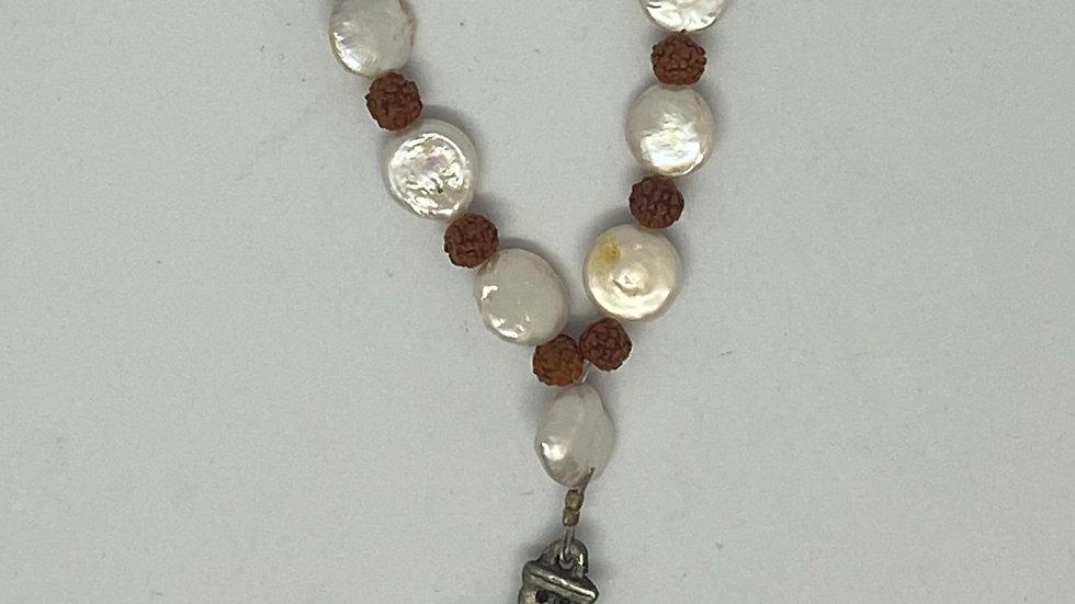Pearl & Rudraksha Cross Necklace