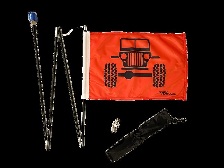 Jeep Front Handy Flag Kit - Orange