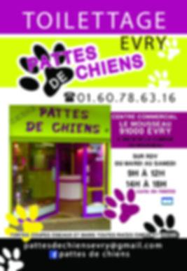 Pattes de chiens salon de toilettage evry parc du Mousseau. Ouvert du mardi au samedi de 9h à 12h et de 14h à 18h.