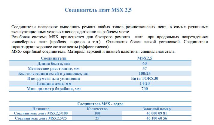 Резьбовые соединители MSX 2,5
