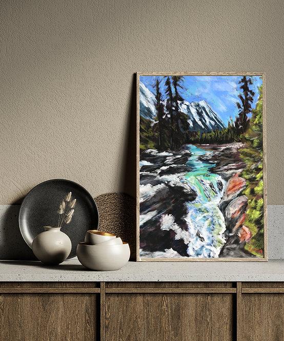 Numa Falls, British Columbia - Pastel Print