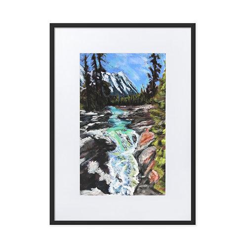 Numa Falls, British Columbia - Framed Pastel Print With Mat