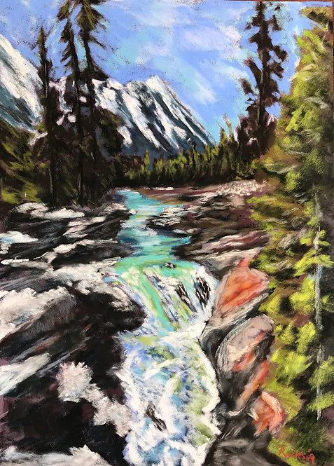 Numa Falls, British Columbia - Framed Pastel on Pastel Mat