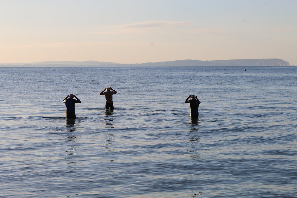 Swimmers entering the sea with island in the background