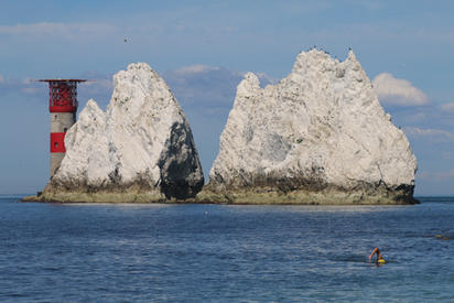 Swimmer with the Needles, Isle of Wight