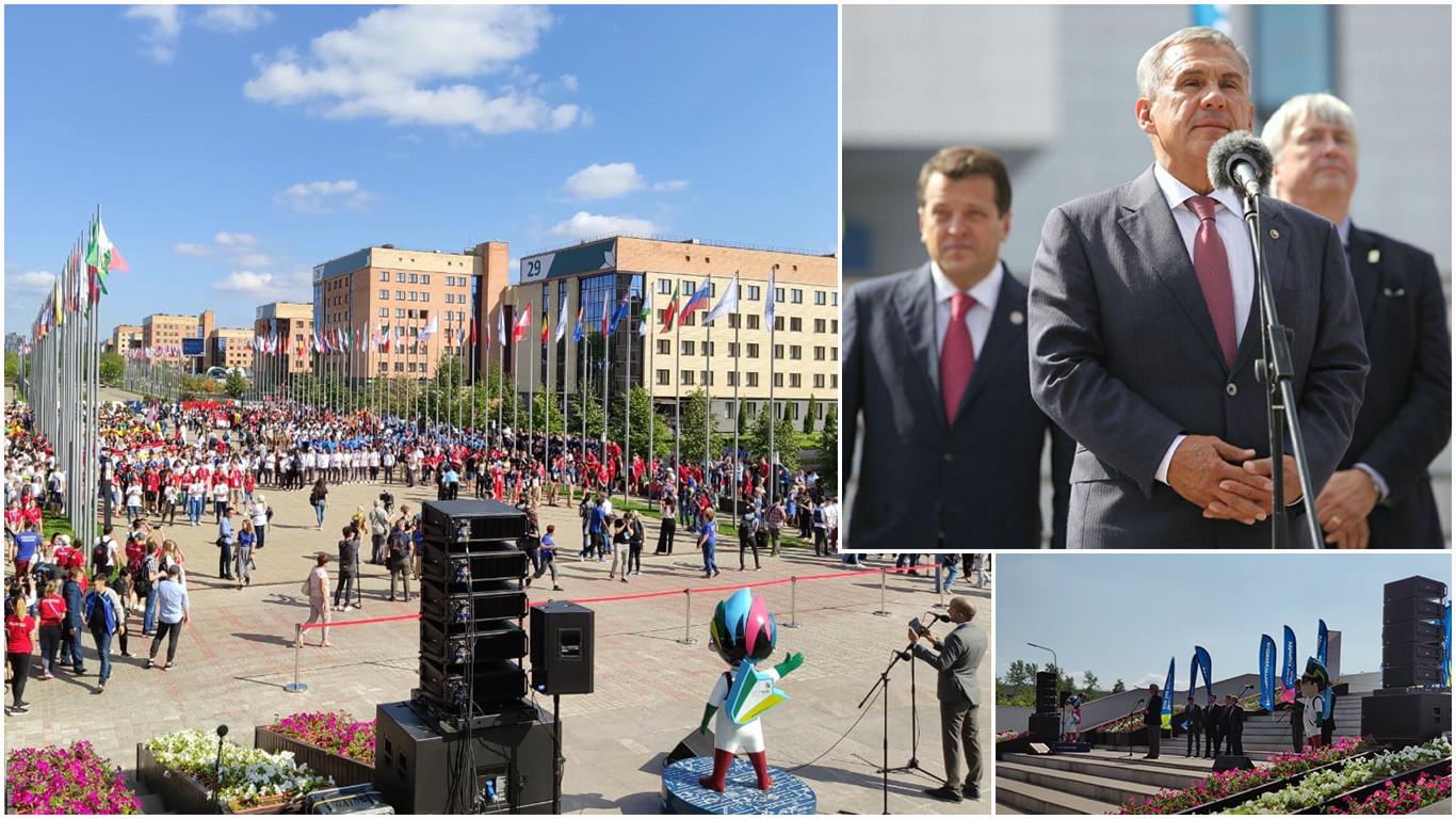 Церемония открытия Деревни WorldSkills. На главной аллее Деревни в торжественной обстановке были подняты флаги стран-участниц соревнований.