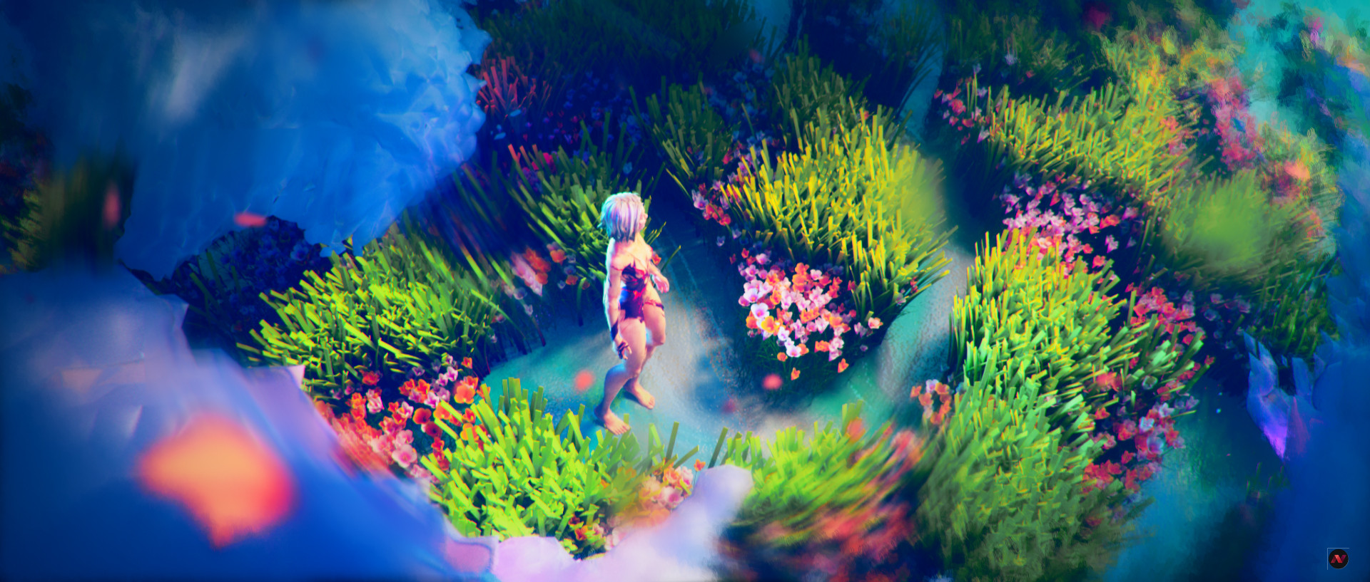 The first sequence introduces the character and the world she'll evolve. We wanted to mark at the same time the feeling of being lost in a totally unknown, empty, but not scary place. We also wanted a feeling of immensity, where things are not really defined. That leaves everyone free to interpret what they feel.