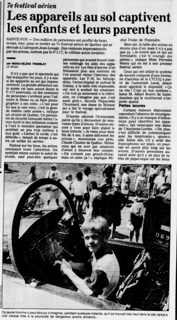 Journal Le Soleil 15 août 1993