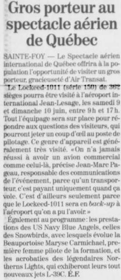 Journal Le Soleil 7 juin 2001