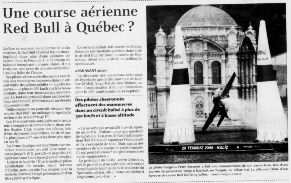 Journal Le Soleil 6 juin 2006