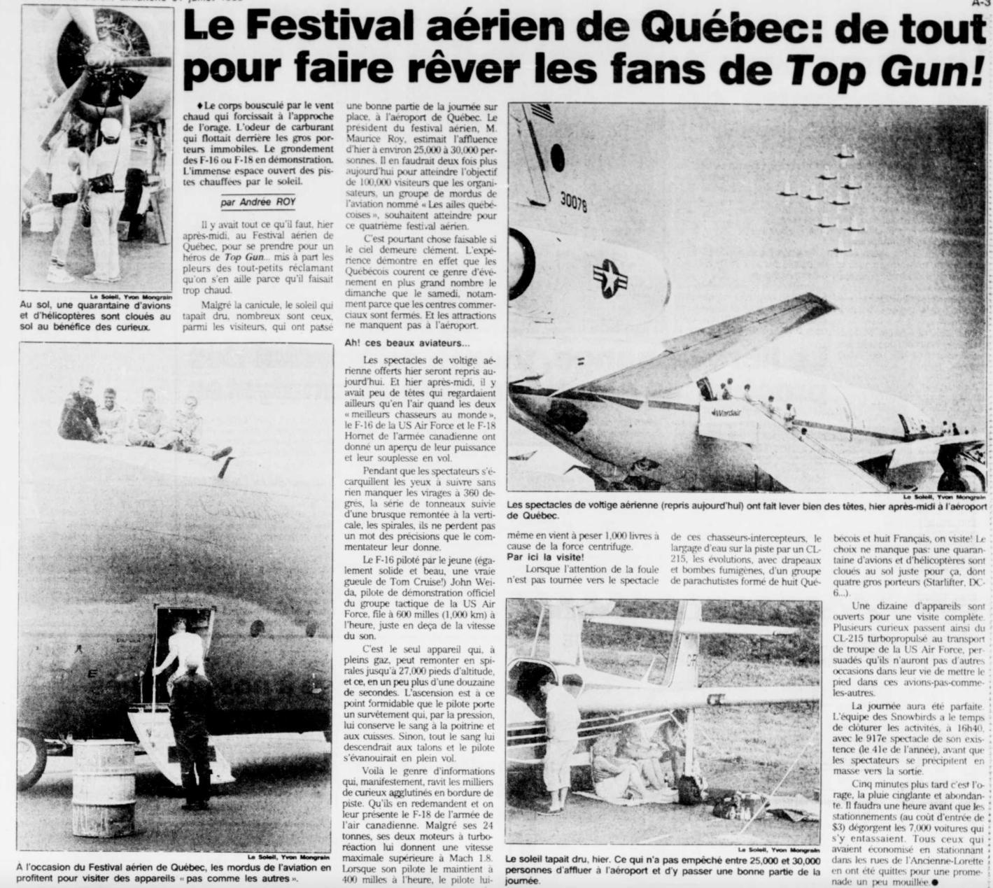Journal Le Soleil 31 juillet 1988