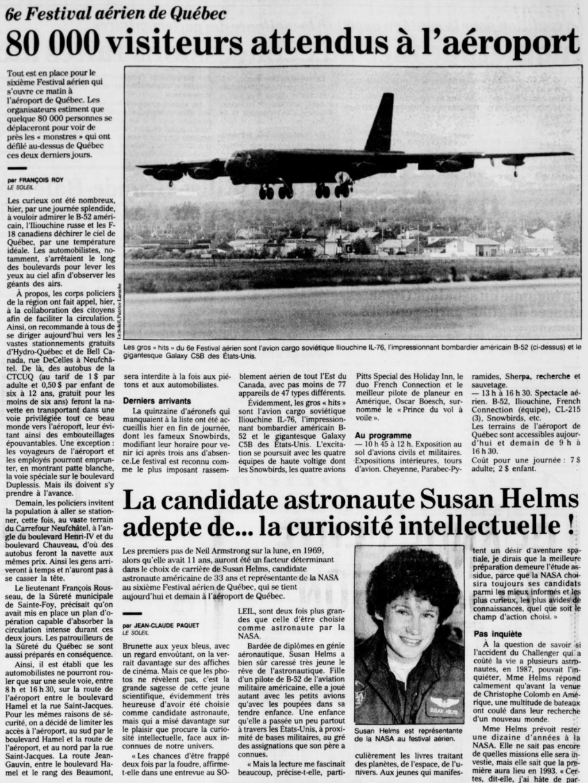 Journal Le Soleil 17 août 1991