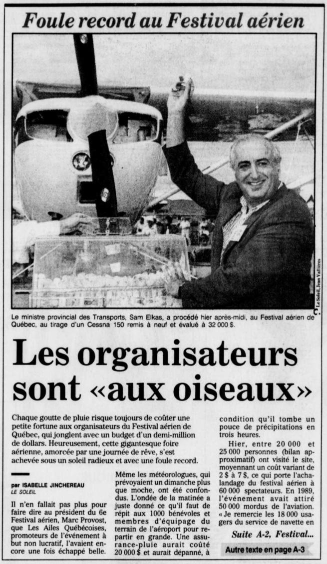 Journal Le Soleil 19 août 1991