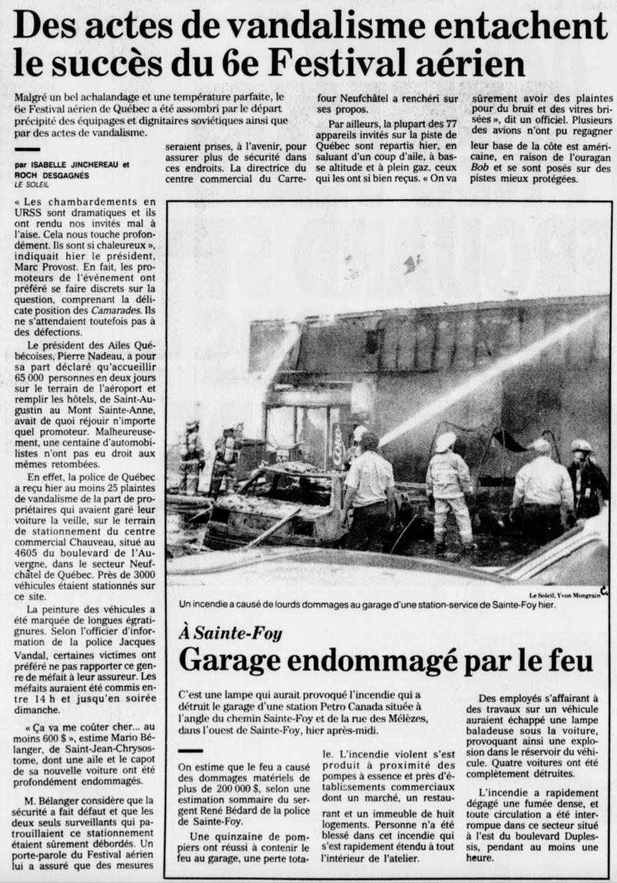 Journal Le Soleil 20 août 1991