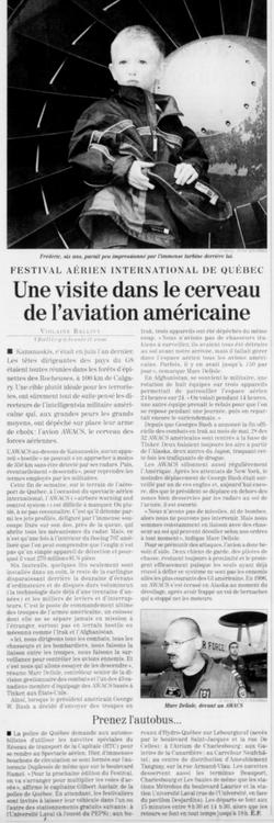 Journal Le Soleil 31 août 2003