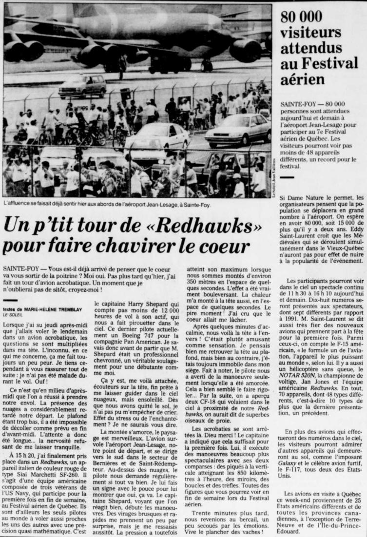 Journal Le Soleil 14 août 1993