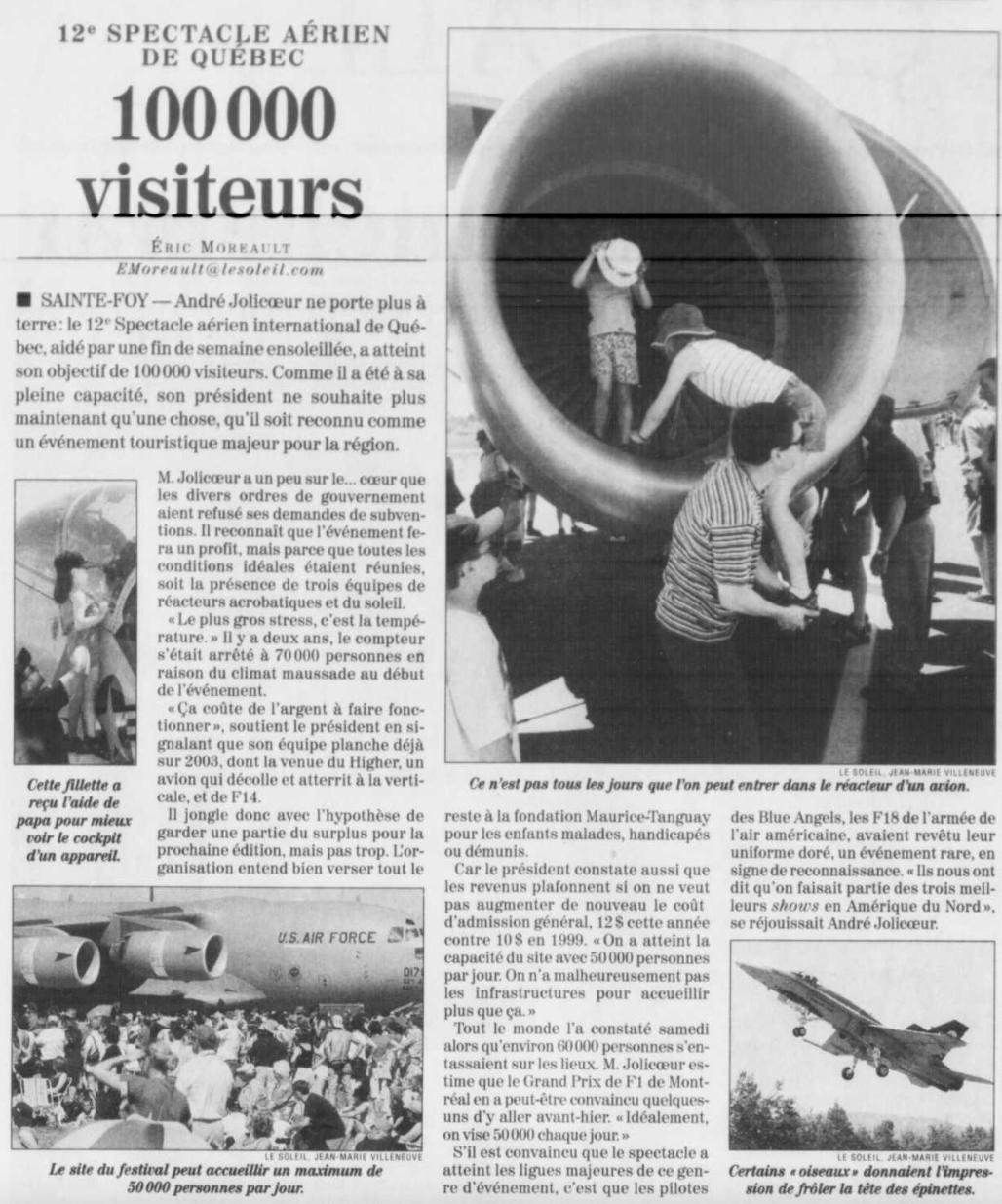 Journal Le Soleil 11 juin 2001