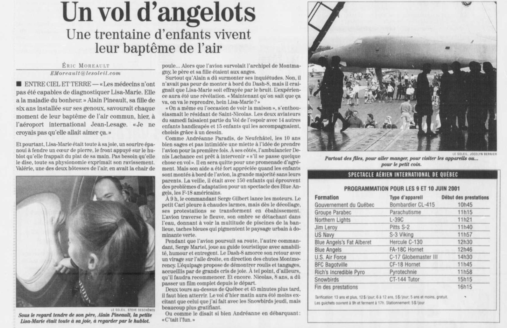 Journal Le Soleil 10 juin 2001