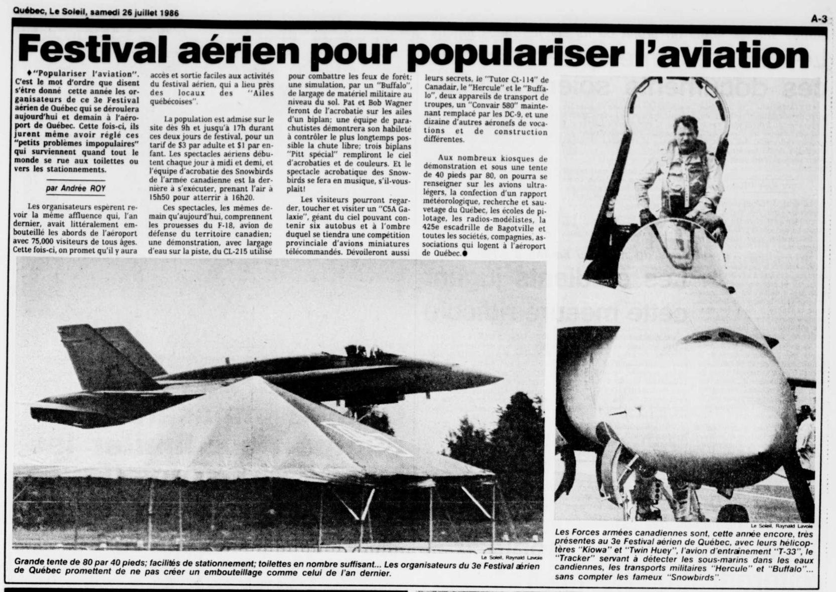 Journal Le Soleil 26 juillet 1986