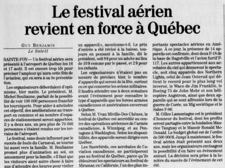 Journal Le Soleil 7 mars 1997