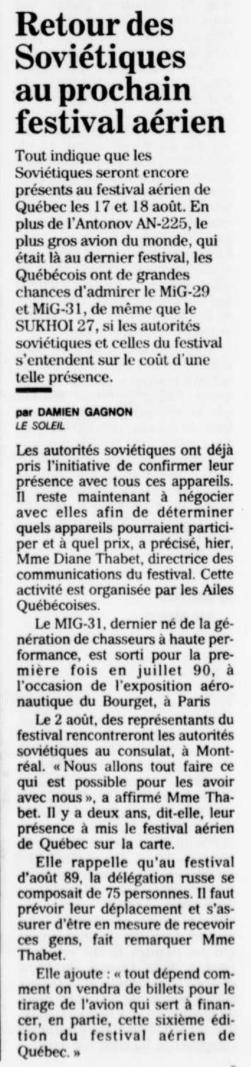 Journal Le Soleil 22 juillet 1991
