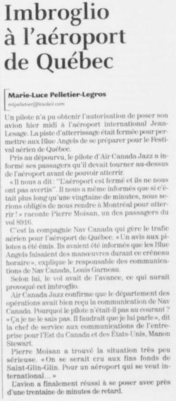 Journal Le Soleil 9 juin 2006