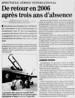 Journal Le Soleil 11 décembre 2005