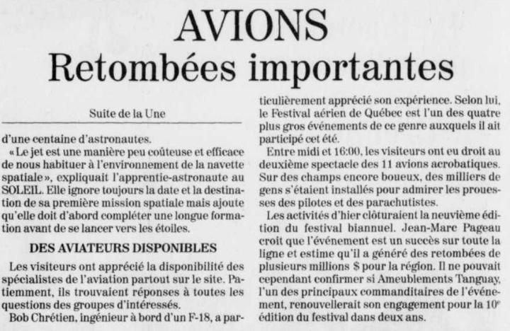 Journal Le Soleil 18 août 1997