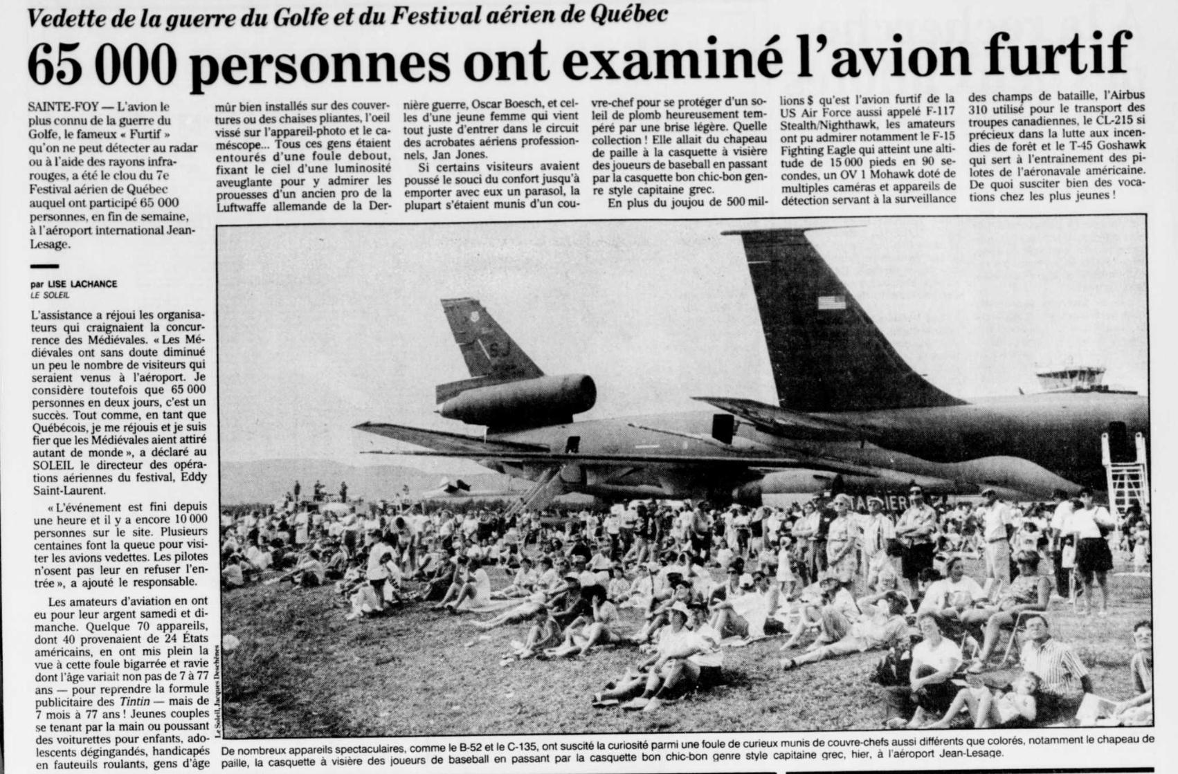 Journal Le Soleil 16 août 1993