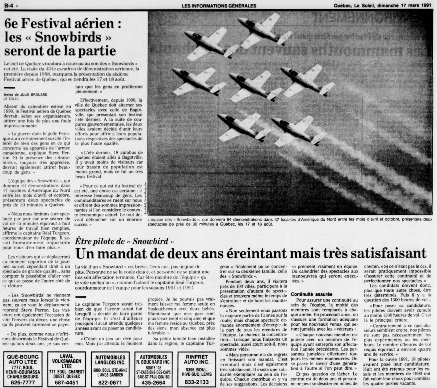Journal Le Soleil 17 mars 1991