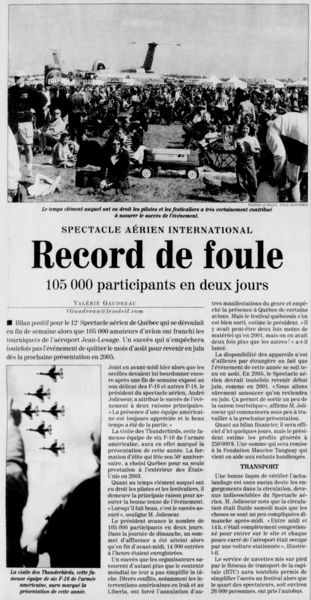 Journal Le Soleil 2 septembre 2003