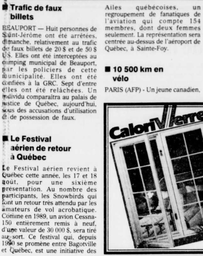 Journal Le Soleil 25 juin 1991