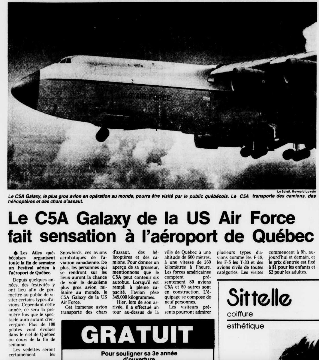 Journal Le Soleil 17 août 1985