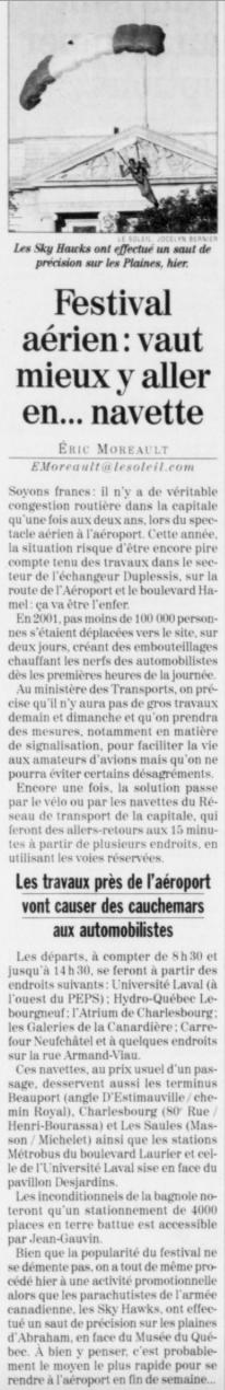 Journal Le Soleil 29 août 2003
